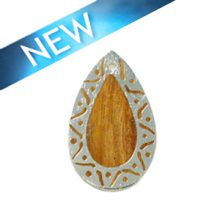 Kamachile wood teardrop carved silver frame