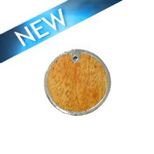 Mahoganny wood round silver framed 30mm