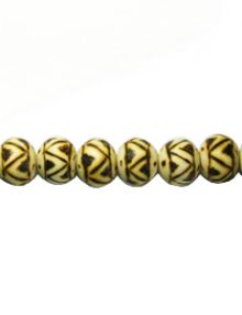 Wooden round 10mm ethinic design bead