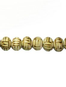 Burnt white wood 10mm bead burnt design
