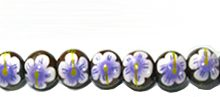 Robles wood round 10mm flower painted bead purple