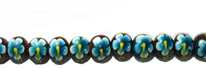 Robles wood round 10mm flower painted bead blue