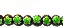 Robles wood round 10mm flower painted bead Green
