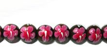 Robles wood round 10mm flower painted bead dark pink