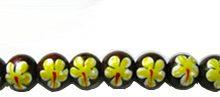 Robles wood 10mm yellow flower painted bead