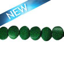 wholesale Irregular palm wood round 19mm green beads