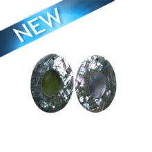 Cracking abalone shell oval shape with blacklip shell inset, flat back earring component