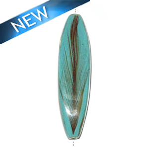 Four-sided Mahogany wood tube laminated with rooster feather turq. blue