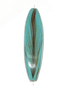 Mahogany wood tube laminated with rooster feather turquoise blue