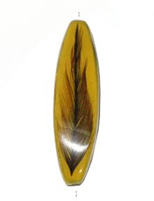 Mahogany wood tube laminated with rooster feather yellow