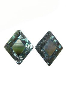 Cracking abalone shell diamond shape with blacklip shell inset, flat back earring component