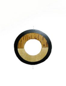 Palmwood donut pendant with frosted resin inset black peach