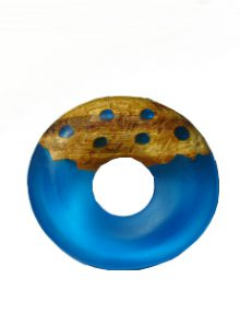 Frosted turquoise blue resin with matte finish mahogany wood