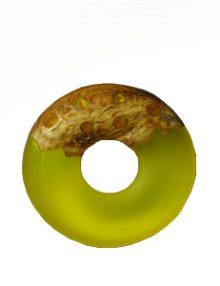 Frosted lemon yellow resin with matte finish mahogany donut pendant
