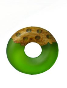 Frosted olive resin with matte finish mahogany donut pendant