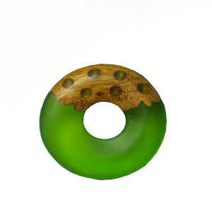 Frosted olive resin with matte finish mahogany wood