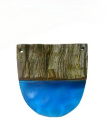 Wholesale Robles drift wood with pasted electric blue resin semi oval pendant
