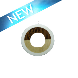 Palm wood donut pendant with frosted resin inset Opaque white