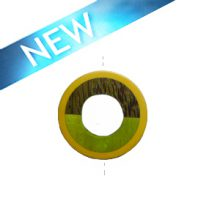 Palmwood donut pendant with frosted resin inset buff yellow