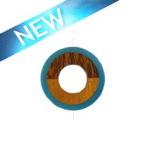 Palmwood donut pendant with frosted resin inset blue