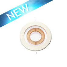 White wood 50x6mm donut with colored frosted rust resin inset pendant