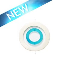 White wood 50x6mm donut with colored frosted turquoise resin inset pendant