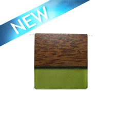 Rectangular Palmwood pendant with frosted olive green resin inlay