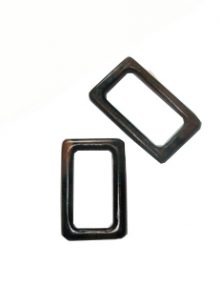 Tiger ebony wood rectangular kalar pendant 53mm