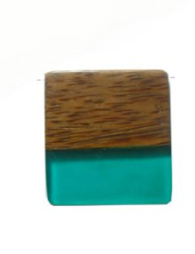 Palmwood pendant with frosted turquoise resin inlay