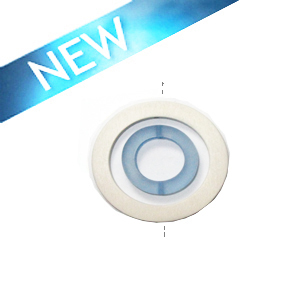 White wood 50x6mm donut with colored frosted smoked blue resin inset pendant wholesale