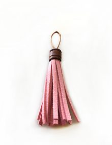 wholesale Tassel Suede with wooden tube pink 10x60mm