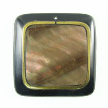 Wholesale Brown Lip Square Pendant w/ Silver Inlay 40x40mm-limited stock only