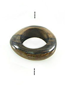 Wholesale Ebony wood irregular round 34mm with 20mm inside diameter side drilled-limited stock only