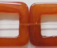 Carnelina square hollow 30mmx5mm, 16mm inside diameter
