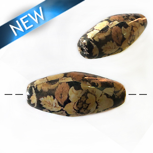 Brown floral paper print long oval 40mm