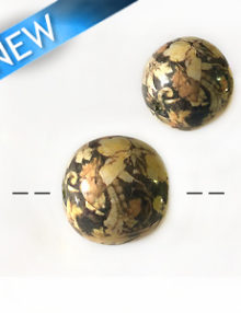 Brown floral paper print round beads 22mm